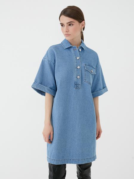 Прямое джинсовое платье - фото 2