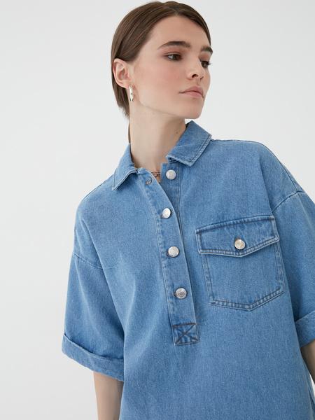 Прямое джинсовое платье - фото 3