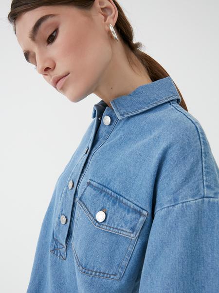 Прямое джинсовое платье - фото 4