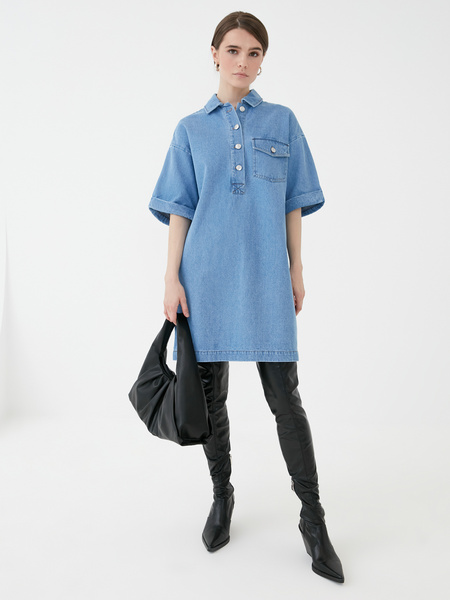Прямое джинсовое платье - фото 6