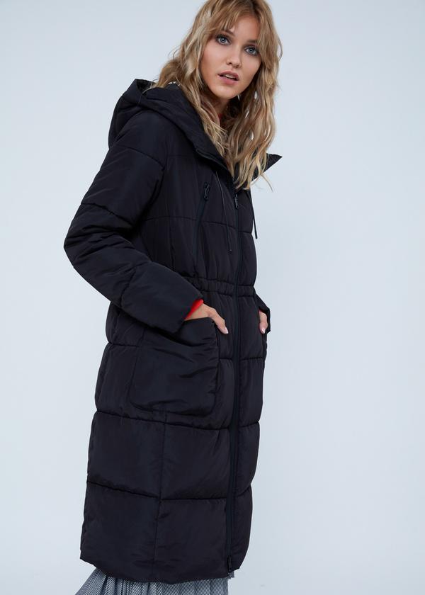 Удлиненная куртка с капюшоном - фото 1