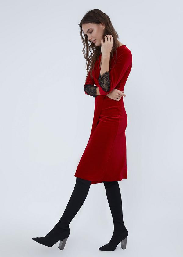 Платье-миди на запахе с кружевом - фото 3