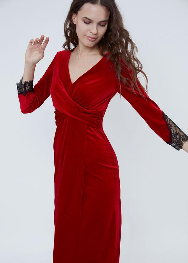 Платье-миди на запахе с кружевом - фото 4