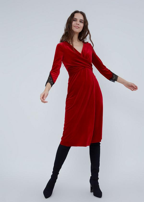 Платье-миди на запахе с кружевом - фото 5