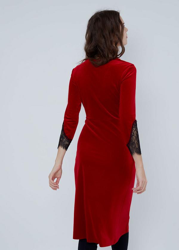 Платье-миди на запахе с кружевом - фото 6