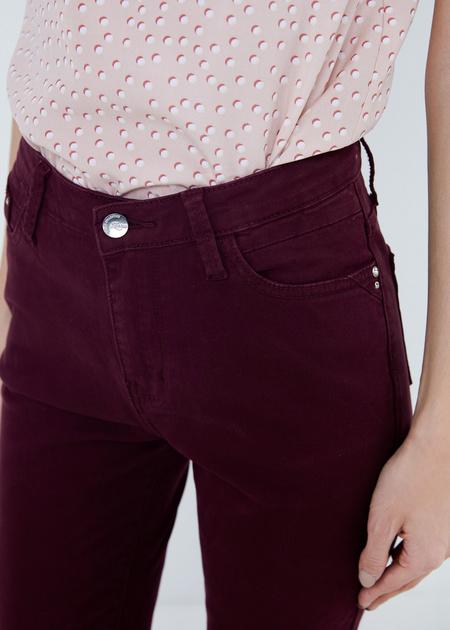 Хлопковые брюки из денима зауженного кроя - фото 4