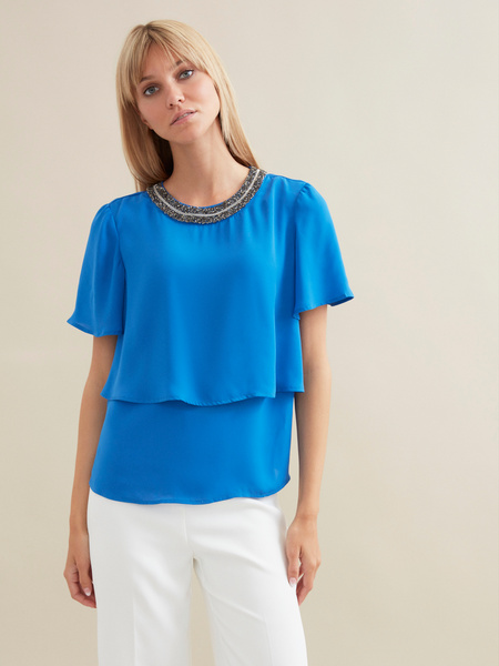 Блузка с декорированной горловиной - фото 1