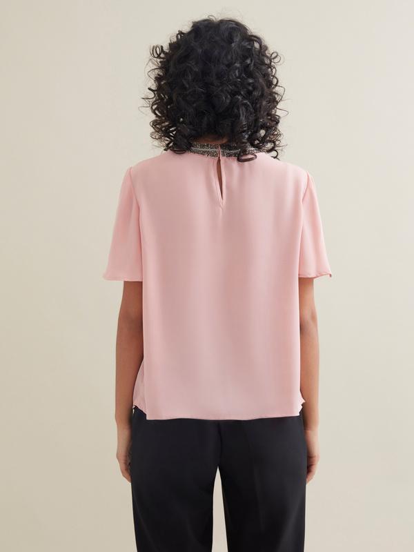 Блуза с декорированной горловиной - фото 3