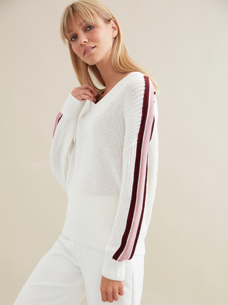 Джемпер крупной вязки со спущенной линией плеча - фото 2