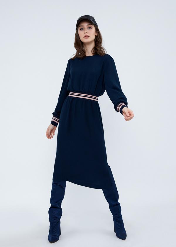 Платье-миди с резинкой на поясе - фото 2