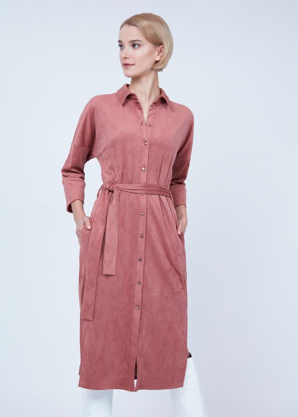 Платье-рубашка с боковыми разрезами - фото 1
