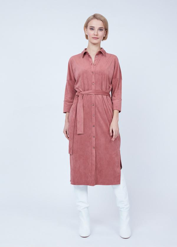 Платье-рубашка с боковыми разрезами - фото 3
