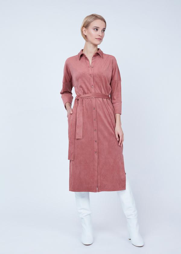 Платье-рубашка с боковыми разрезами - фото 4