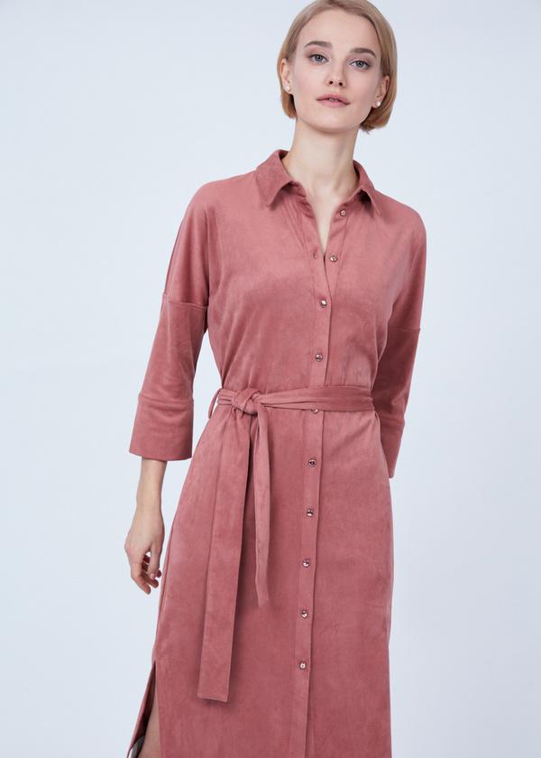 Платье-рубашка с боковыми разрезами - фото 6