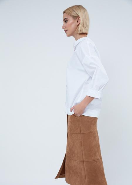 Рубашка в полоску с манжетами на резинке - фото 3