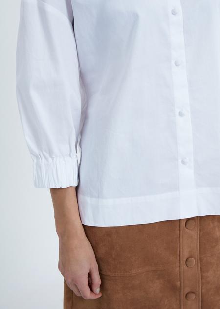 Рубашка в полоску с манжетами на резинке - фото 4