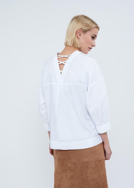 Рубашка в полоску с манжетами на резинке - фото 5