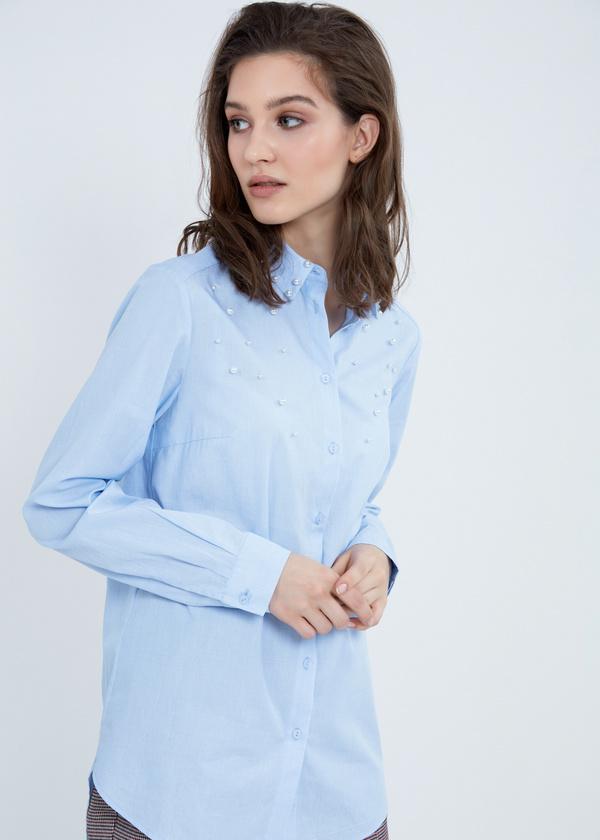 Рубашка из хлопка с декором из бусин - фото 2