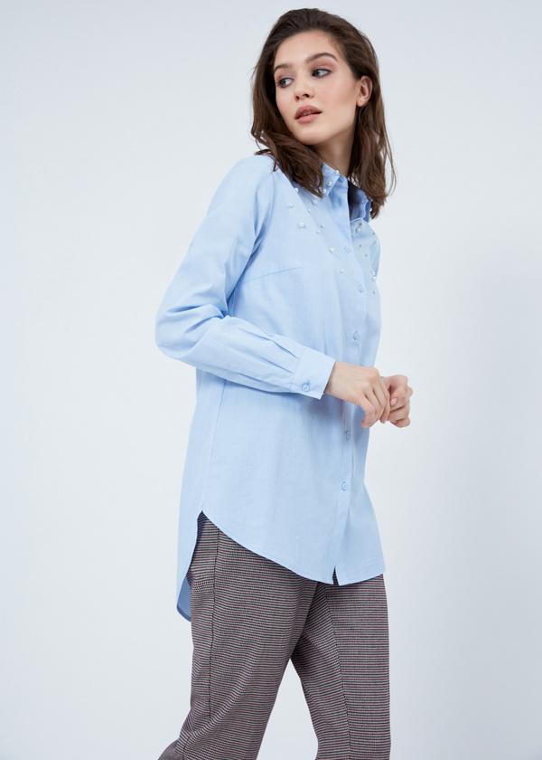 Рубашка из хлопка с декором из бусин - фото 4