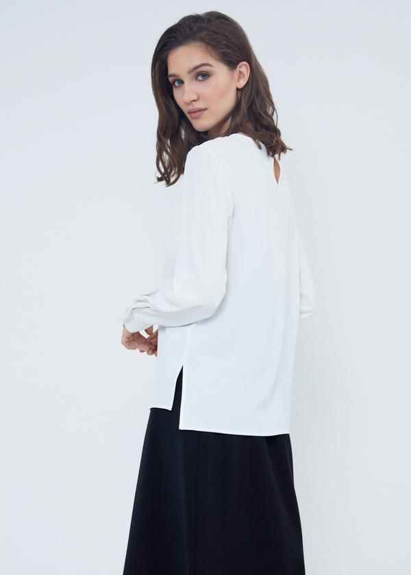 Шифоновая блузка с прозрачной вставкой - фото 2