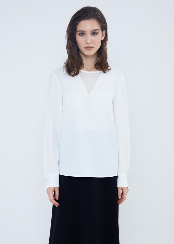 Шифоновая блузка с прозрачной вставкой - фото 3