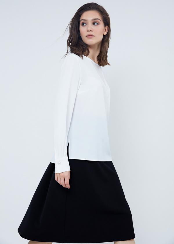 Шифоновая блузка с прозрачной вставкой - фото 4