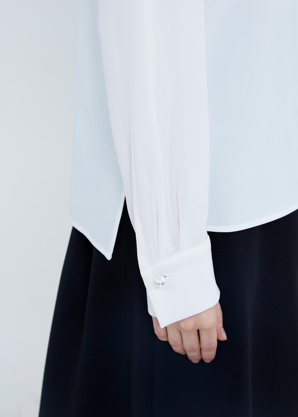 Шифоновая блузка с прозрачной вставкой - фото 5