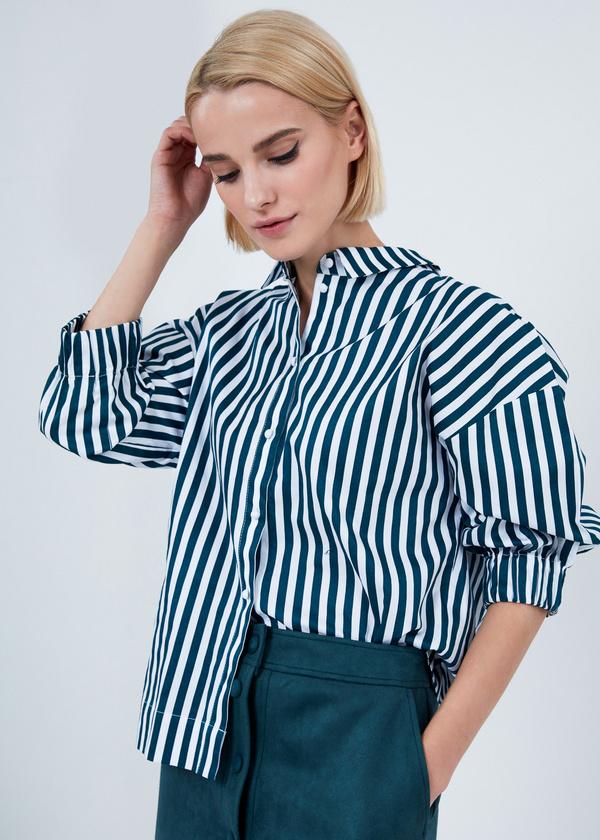 Рубашка в полоску с манжетами на резинке - фото 1