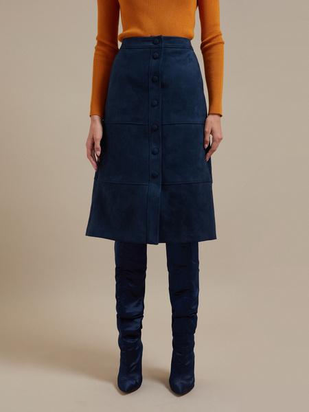 Замшевая юбка-миди с пуговицами - фото 1
