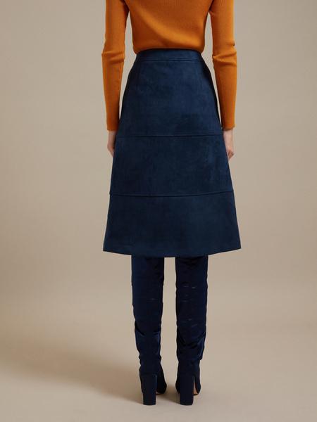 Замшевая юбка-миди с пуговицами - фото 3