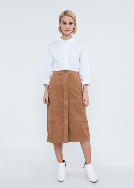 Замшевая юбка-миди с пуговицами - фото 5