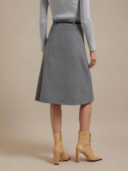 Расклешенная юбка-миди с ремешком - фото 2