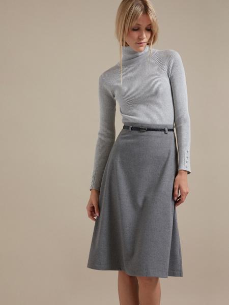 Расклешенная юбка-миди с ремешком - фото 3