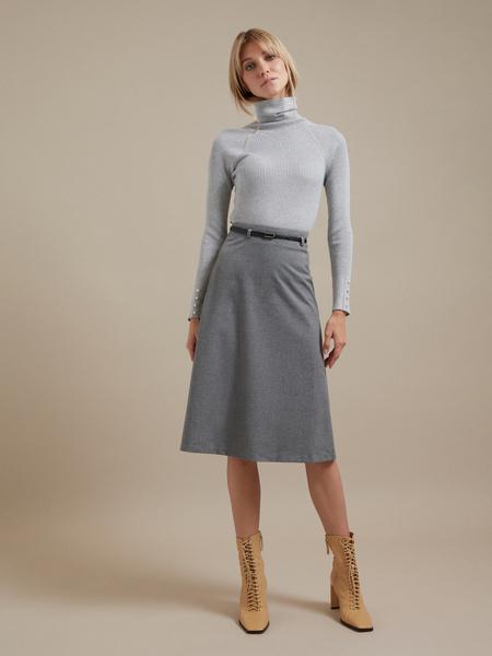 Расклешенная юбка-миди с ремешком - фото 4