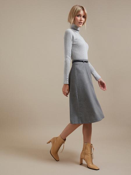 Расклешенная юбка-миди с ремешком - фото 5