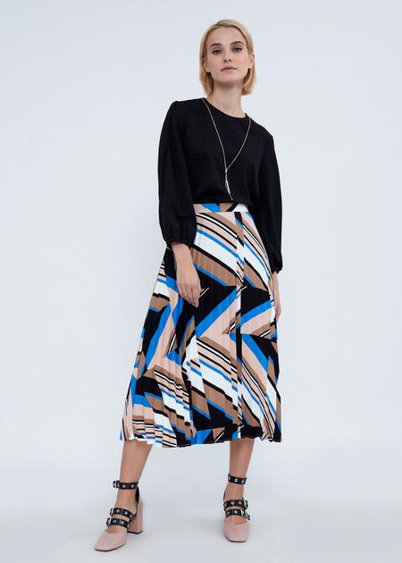 Плиссированная юбка-миди с геометрическим принтом - фото 1