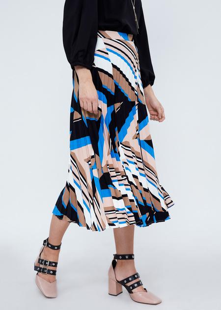 Плиссированная юбка-миди с геометрическим принтом - фото 2