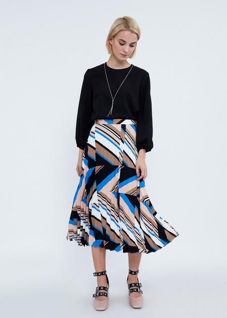 Плиссированная юбка-миди с геометрическим принтом - фото 3