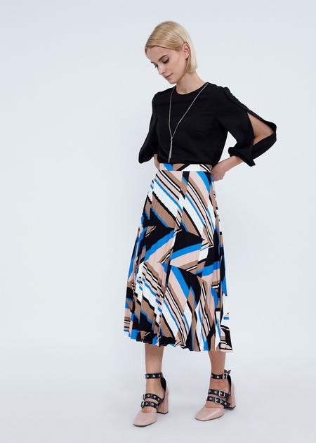Плиссированная юбка-миди с геометрическим принтом - фото 4