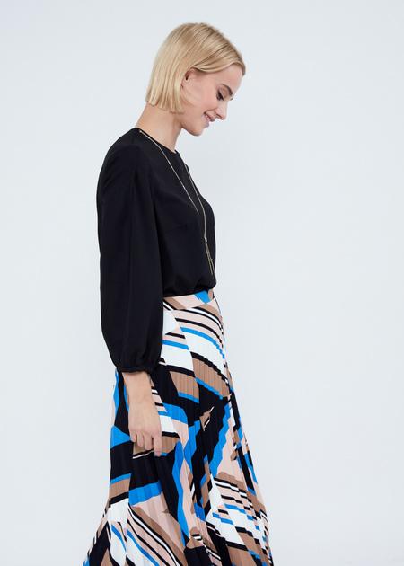 Плиссированная юбка-миди с геометрическим принтом - фото 5
