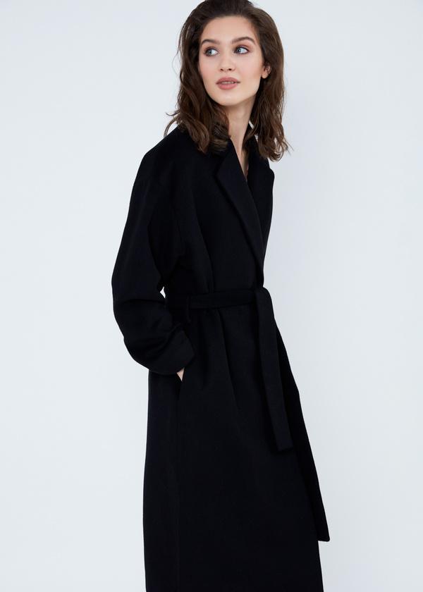 Пальто свободного кроя с карманами и поясом - фото 2
