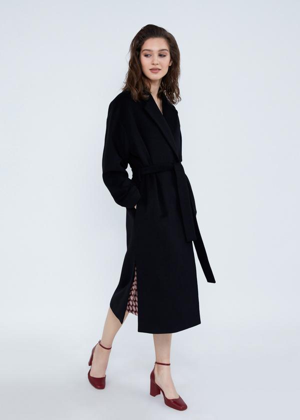 Пальто свободного кроя с карманами и поясом - фото 3