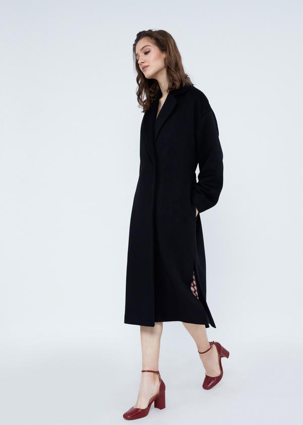 Пальто свободного кроя с карманами и поясом - фото 5