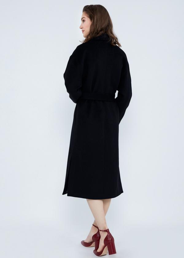 Пальто свободного кроя с карманами и поясом - фото 6
