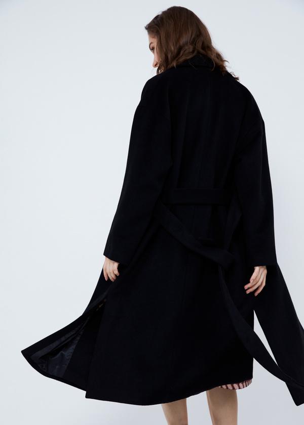 Пальто свободного кроя с карманами и поясом - фото 7