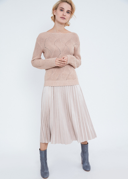 Джемпер ажурной вязки со спущенной линией плеча - фото 2