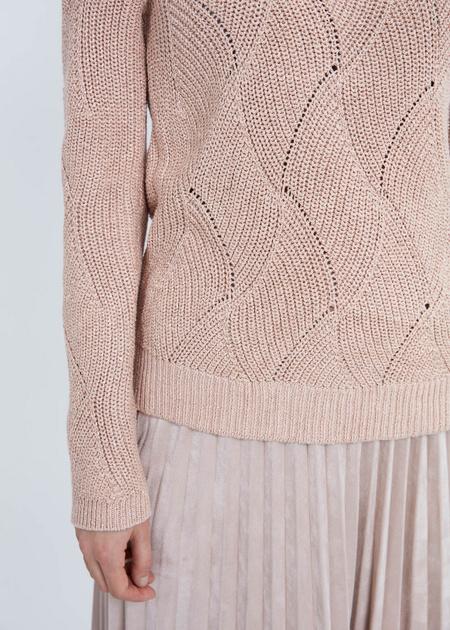 Джемпер ажурной вязки со спущенной линией плеча - фото 5