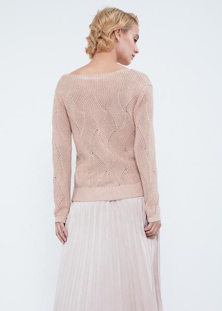 Джемпер ажурной вязки со спущенной линией плеча - фото 6