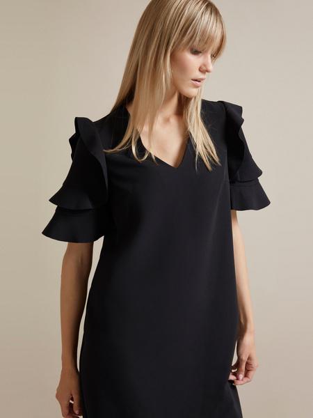Платье-мини с оборками на рукавах - фото 2