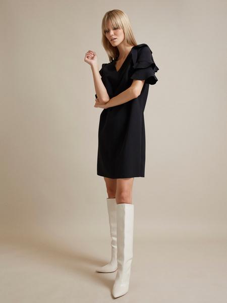 Платье-мини с оборками на рукавах - фото 4